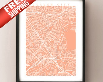 Culver City, CA Map Print - California Poster