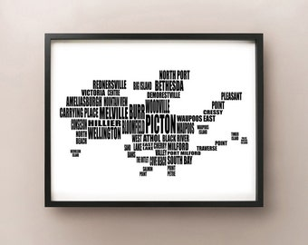 Prince Edward County Typography Map, PEC, Ontario Text Art Print