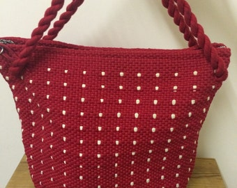 50s Vintage Red and White Woven Bag