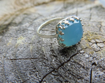 Blue Onyx Sterling Silver Ring