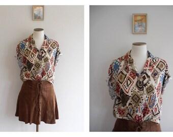 Vintage 80s Abstract Floral Print Blouse  // HIPPIE*HIPPY // BOHO Folk // Floaty Button Up Shirt // Slouchy // Boyfriend Shirt // Size: S