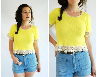 SALE 30% OFF 1970's Knit Sweater Top - Crochet Short Sleeve Sweater - Size S