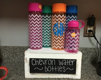 Personalized Monogram Chevron Water Bottles