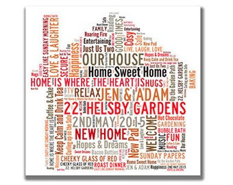 House - personalised word art for new home / family. Digital image.