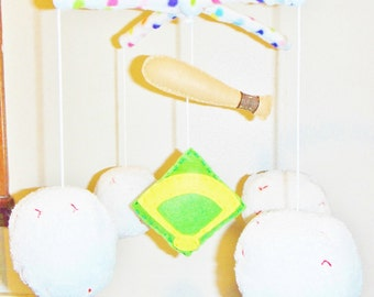 Adorable! Baseball Sports Athlete Bat Balls Decorative Crib Mobile