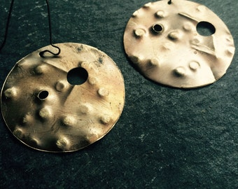 Textured brass disc drop earrrings