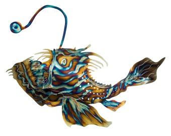 Items similar to green plush monster anglerfish dog for Angler fish toy