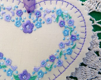 Christmas ~ Valentine ~ Wreath ~ Easter ~ Silk Heart Ornament ~ Decoration Machine Embroidered Blue ~ Lavender ~ Purple ~ Green Floral
