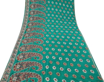 Free Shipping Vintage Indian Saree Embroidered Fabric Women Décor Craft Art Used Green Sari GR4886