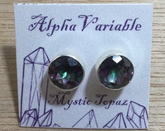 Sterling Silver Mystic Topaz Stud Earrings