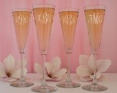 Sound the Trumpets Personalized Champagne Flutes with Bridal Party Monogram Design Options, Elements, & Font List for your Custom Selection