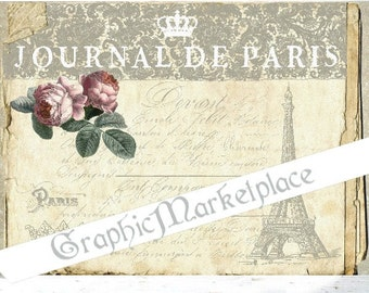 Journal de Paris Eiffel Tower French Antique Card Old Paper France Download Vintage Transfer Fabric digital collage sheet printable No. 1245