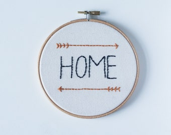 Handmade embroidery 'Home' in hoop