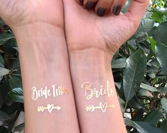 Bachelorette Tattoo // Bride Tribe Tattoo // Bachelorette Favors - Temporary Tattoos - Metallic Tattoos, Bachelorette Party Tattoos, Gold