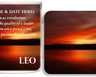 Personalised Leo Mug & Coaster Gift Set - Zodiac Birth Star Sign
