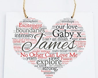 Personalised Love Word Art Wooden Hanging Plaque - No Other