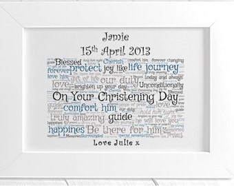 Personalised Christening Framed Word Print Print