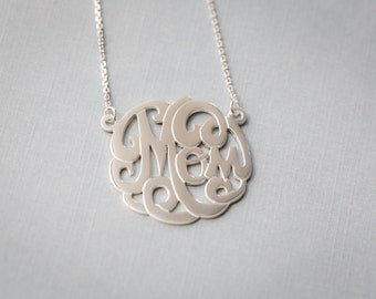 MOM Monogram Necklace 925 Sterling Silver - Mother's Day, For Mother