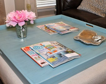 "22"", 24"" or 26"" Square Large Ottoman Tray - Distressed Turquoise"
