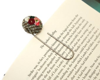 Green/Brown Harris Tweed Button Bookmark, Giant Paper Clip Bookmark, Bookmark, Gift For Booklover, Harris Tweed, Upcycled Fabric