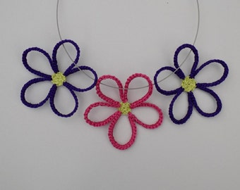 Crochet Daisy Flowers Necklace Pattern/crochet daisy/crochet daisies/crochet flowers/crochet necklace/crochet jewelry/ornamental flowers