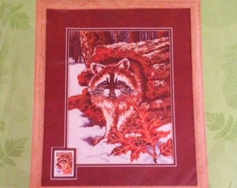 Nature's Wonders Needlepoint Raccoon Picture Candamar Designs