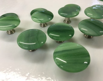 "1.5"" Round Streaky Green Fused Art Glass Cabinet Pull or Drawer Knob"