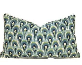 peacock print lumbar pillow cover teal blue and green peacock pillow cover aqua pillows