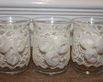 Lace Glass Votive  Set of (3)