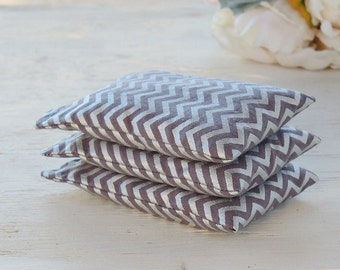 Silver Chevron Print Lavender or Balsam Sachets Set of 3, Organic Lavender, Bridesmaid Inspired Gift Lavender Pillows, Natural Aroma Therapy