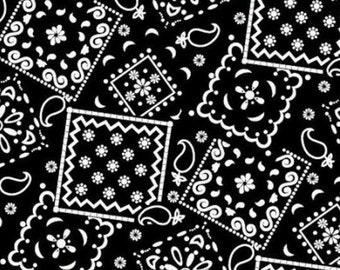Per Yard, Bandana Black Fabric