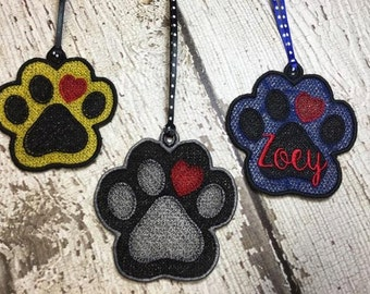Paw Print Free Standing Lace Ornament - Dog - Cat - Rescue - FSL - Digital Embroidery Design