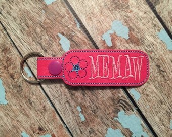 Memaw - Flower -  In The Hoop - Snap/Rivet Key Fob - DIGITAL EMBROIDERY DESIGN