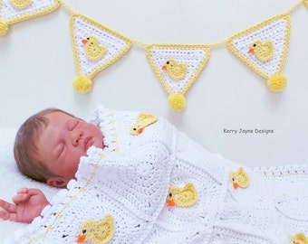 BABY BLANKET PATTERN By Kerry Jayne crochet blanket Pattern Duck blanket pattern Newborn crochet pattern Cot blanket crochet pattern Uk Pdf