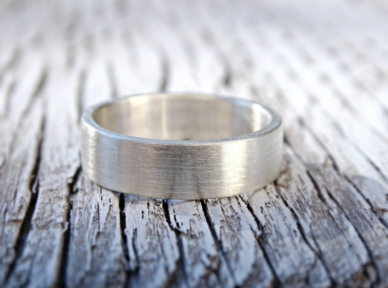 Mens Wedding Band Silver Flat Band Silver Ring Modern