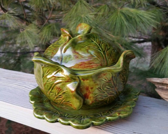 Green Holland Mold Cabbage Bowl With Lid Amp Plate
