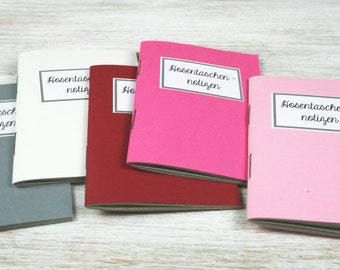 Pocket notes - 5 mini notebooks / / pink tones
