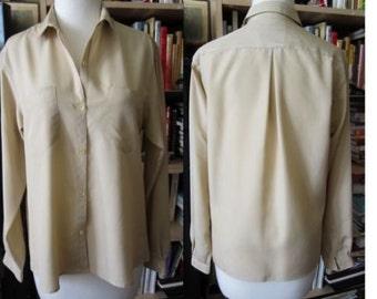 Vintage 1990's Gloria Vanderbilt silky crepe tiny fit khaki drape dress blouse