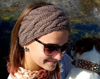 Cable Knit Headband, Knitted Ear Warmer, Hand  Knit Hair Accessory, Womens Turban, Christmas Gift