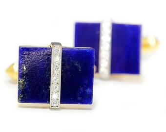 Vintage Men's Cuff Links with Lapis Lazuli & Diamonds 14K Two Tone Gold .20ctw