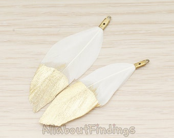 PDT1492-01 // White Colored Imitation Feather Half Dipped in Gold Feather Charm Pendant, 2 Pc