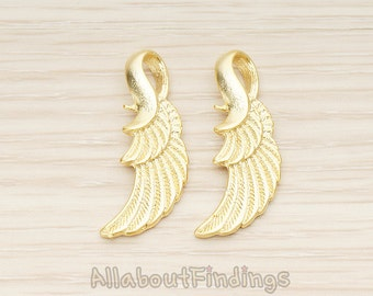 PDT1403-02-MG // Matte Gold Plated Double Layer Feather Angel Wing Pendant, 2 Pc