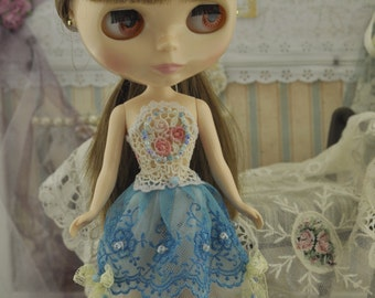 Dress crochet fabric lace mesh beads blythe doll