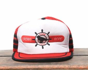 Vintage Crowe Rope Twine Marine Boat Bird Trucker Hat Snapback Baseball Cap