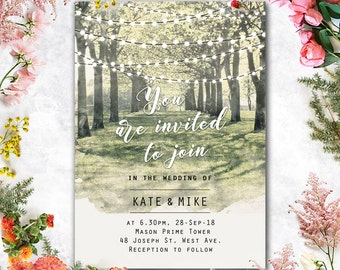 Printed Card - Digital Printable Files - Garden, Tree Tunnel and String Lights Wedding Invitation RSVP Thank You Invitation Set - ID636