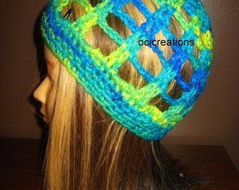 Beanie Hat, Slouchy Hat, Blue, Green, Yellow, slouch hat, summer hat, adult, womens, beach hat, bright colors, gift, mothers day, for her