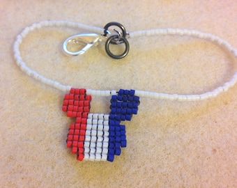 Beaded Mickey Mouse Flag colors, Patriotic, Red, White & Blue Bracelet