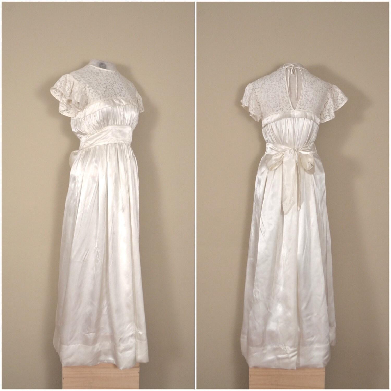 Cream Wedding Gown: 1940s Satin Lace Cream Wedding Gown // Empire Waist Bridal