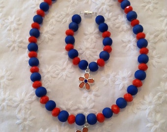 Little girls beaded necklace and bracelet set
