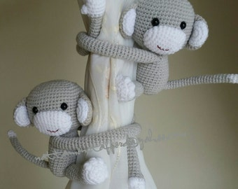 A pair of Light Pearl Gray Monkeys Curtain Tiebacks  (Both sides)  MADE TO ORDER..